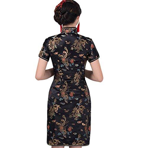 Zhuhaixmy Chinesisch Traditionell Drachen Phönix Brokat Performance Qipao Kleid Frauen Cheongsam Abendkleid Schwarz