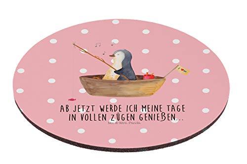 Mr. & Mrs. Panda Maus, Schreibtisch, Rund Mauspad Pinguin Angelboot mit Spruch - Farbe Rot Pastell