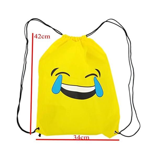 41nIzTVP48L. SS600  - JZK 12pcs Encantador Emoji cordón Dibujos Animados Mochila Bolsas PE para cumpleaños niños y Adultos la Fiesta favorece la Bolsa, Rellenos Bolsas Fiesta