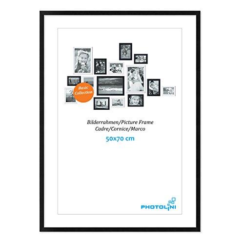 Photolini Poster-Bilderrahmen 50x70 cm Modern Schwarz aus MDF mit Acrylglas/Posterrahmen/Wechselrahmen