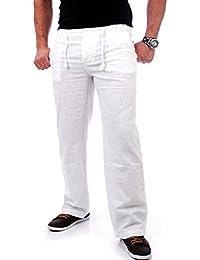 Reslad Leinenhose Männer Chino Herren-Hose lockere Sommer Stoffhose  Freizeithose aus bequemer Baumwolle lang RS cad78c07d0