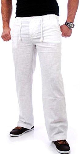Reslad Leinenhose Männer Chino Herren-Hose lockere Sommer Stoffhose Freizeithose aus bequemer Baumwolle lang RS-3000 Weiß Größe L