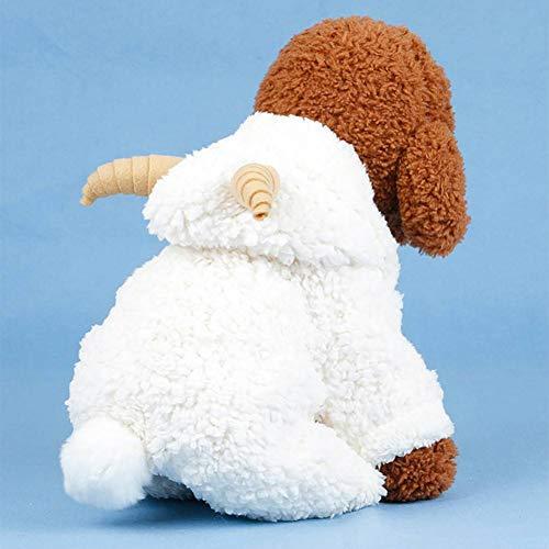 Kostüm Kleiner Hunde Schaf - FGDSSE Haustier-Kostüm-Kleiner Hund kleidet Mantel-weiße Schaf-Welpen-Hoodie-Chihuahua-Kleidung mit Horn 2 im Winter-warmen Kleid