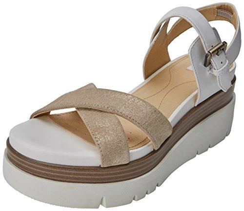 Geox d radwa c, sandali con zeppa donna, bianco (lt gold/white), 40 eu