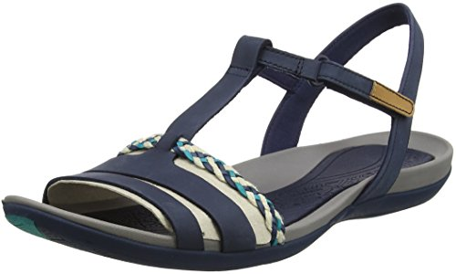 Clarks Damen Tealite Grace T-Spangen Sandalen, Blau (Navy), 43 EU Keil Sandalen-navy Blau