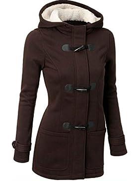 [Patrocinado]SHOBDW Mujeres de moda rompevientos ropa de lana caliente delgada capa larga Trench chaqueta