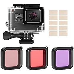 Accessoires Compatible pour Gopro 2018 Hero 6 Hero 5 Hero 7 Noir Action Camera,iTrunk Kit d'Accessoires 14 en 1 avec Boîtier de Protection Étanche Case Filtre Rouge et Insert Anti-buée