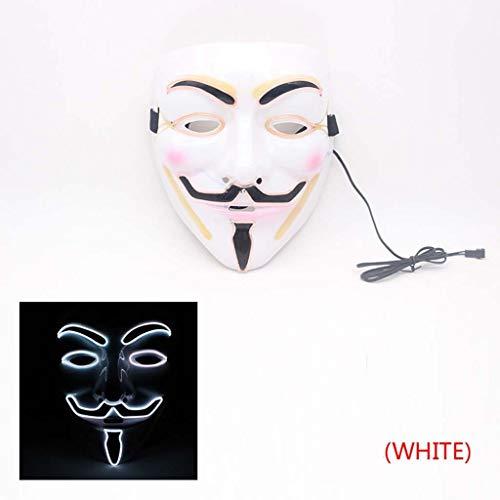 Kostüm Vendetta V Per - Leuchtende LED Maske - Halloween Maske - Cosplay Kostüm Maske - Party Rave Maske - Erwachsene Und Kinder (Color : A)