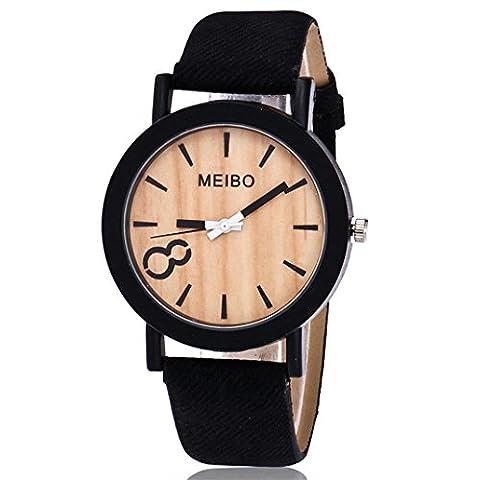 Femme, montres Ihee Bracelet Mode décontractée Meibo modelage en bois à quartz montre pour homme décontracté en bois Couleur montre en cuir M