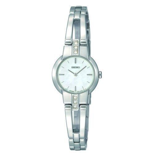 Seiko-Reloj de cuarzo para mujer con esfera analógica blanca y plateado correa de acero inoxidable SUJG47P2(Reacondicionado Certificado)