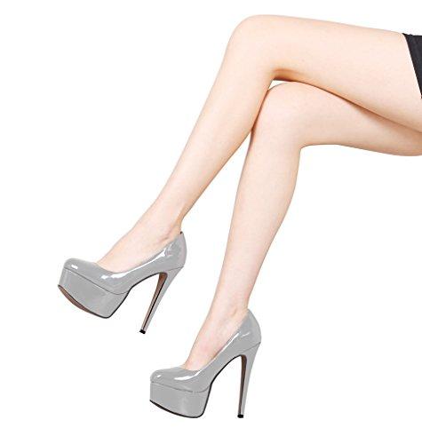 Guoar High Heels Große Größe Abendschuhe Round Toe Lack Rutsch Pumps mit Plateau Club Party Hochzeit Grau