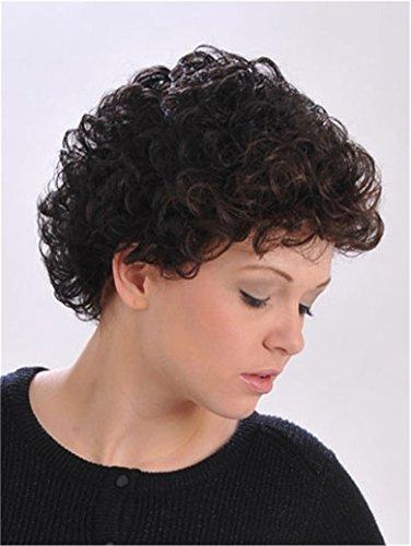Finders 20,3cm afro ricci parrucca corta marrone scuro parrucche termoresistente capelli sintetici per medio-Età da donna
