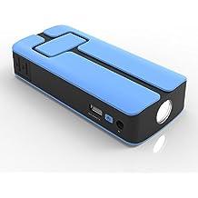 MAXOAK Jump Starter 11000mAh Arrancador de Batería Cargador de Batería Portátil POWER BANK Pack de emergencia Multifuncionado con 5V/12V/20V para Coche de Emergencia,Teléfonos Móviles, Tableta y portátiles con Cable de Arranque,Adaptador,Linterna LED–Azul