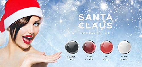 N&BF 4er Farbgel Set Santa Claus | 4x5 ml UV Color Gel Sparset | Colourgel in vier weihnachtlichen Farben | Made in EU | Sparpaket für Gelnägel & Nail Art Design | Profi Nagelgel bunt -
