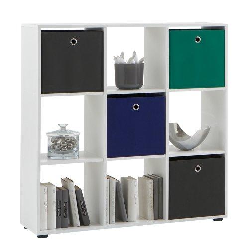 FMD Möbel, Mobile divisorio uso libreria, Bianco (Weiß), 104,5 x 108,5 x 33 cm - mobili per ufficio