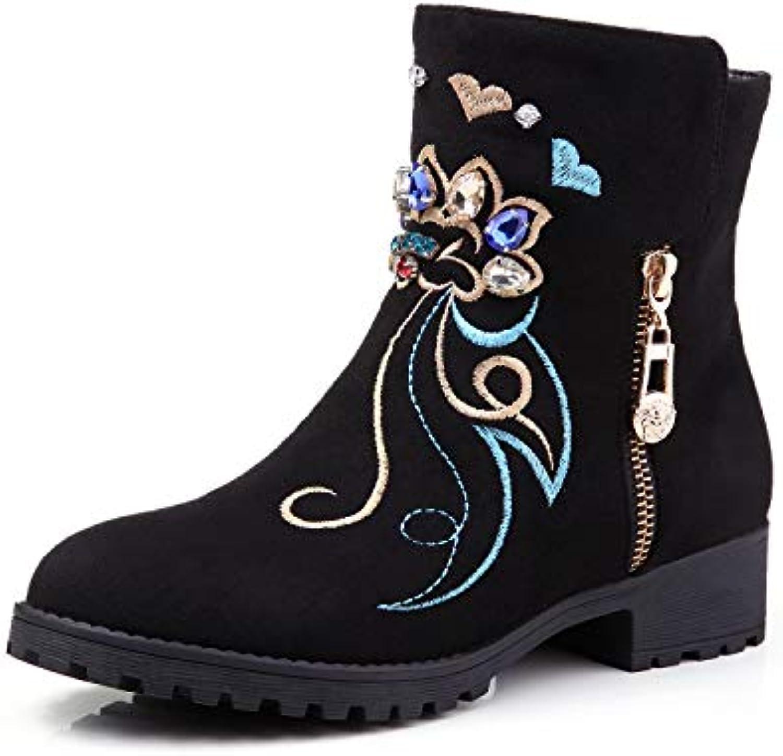 b6595c7cd87 Women s Ethnic Style Block Heel Heel Heel Heels Embroidery Short Ankle Boots  B07GXGVDCR Parent 7ba2c4