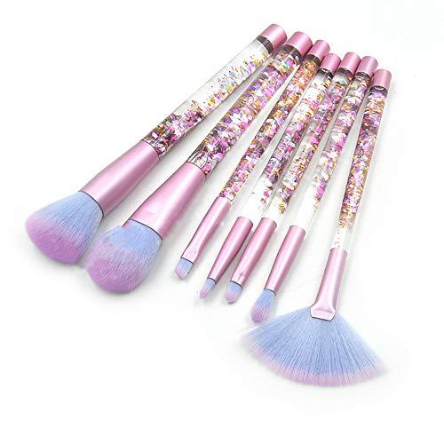 WESEEDOO 7 pièces Ensemble de pinceaux de Maquillage,Maquillage Essentiel de beauté de cosmétiques Professionnels avec Le Sac Transparent de PVC de Scintillement de Cristal (Color 7)