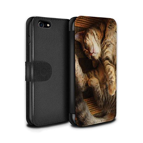 Officiel Elena Dudina Coque/Etui/Housse Cuir PU Case/Cover pour Apple iPhone 7 / Loups Blancs Design / Les Animaux Collection Endormi/Tigré Chat