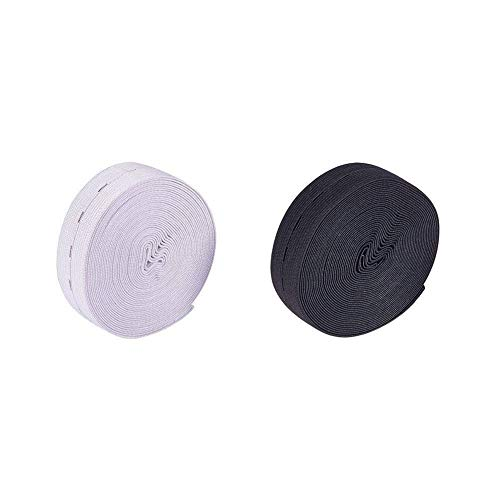 Nbeads 2rotolo 25mm/2,5cm (5m/rotolo) estensori per piatto in gomma elastica in vita con resina 40pcs bottoni, fasce elastiche per cucire bobina band piatto elastico con asole, nero e bianco