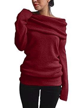 StyleDome Mujer Suéter Jersey Invierno Elegante Escote Capa Mangas Largas Casual