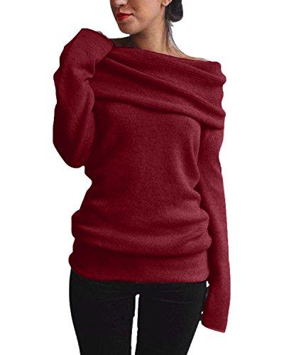 ZANZEA Damen Sexy Langarm Off Shoulder Cardigan Asymmetrisch Pullover Strick Langshirt Bluse Top (EU 36, Weinrot)