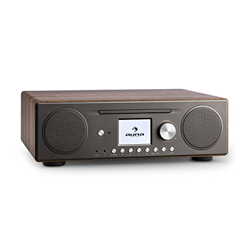 auna Connect CD Kompaktanlage - Internetradio , Digitalradio , WLAN , DAB+ / UKW-Tuner mit RDS , Bluetooth , Spotify Connect , AUX , 10 Senderspeicherplätze , CD Player , USB , Farbdisplay , walnuss