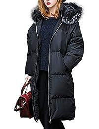 you.u Longs Manteau d hiver pour Femme avec Bordure à Capuche en Fausse 46686bd083ff