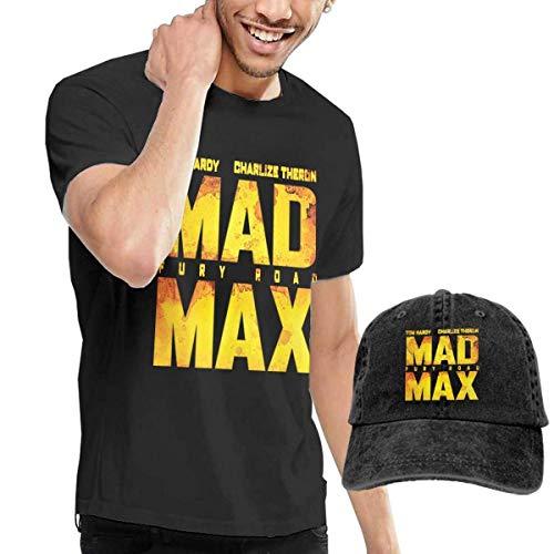 Herren Kurzarmshirt Mens Classic Mad Max Fury Road T Shirt and Washed Denim Hat Casquette Black (Fury Mad Road-kostüm Max)