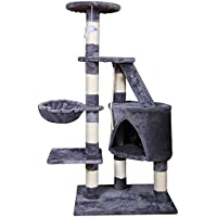 MC Star Klassisch Katzenbaum für Katzen Kletterturm 120cm mit Natur-Sisal Kratzbaum Hängematte Höhle Plattformen Katze Spielzeug Spielen Mittelgroß Stabile, Grau