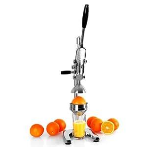Klarstein EcoJuicer XL - Presse agrumes mécanique à levier pour preparation de jus de fruit frais (stable, silencieux, acier inoxydable)