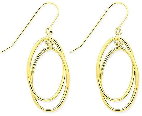 icecarats Anhänger ® Designer Jewelry 14K poliert Doppel Kreis Baumeln Draht Ohrringe