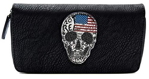 Damen Geldbörse Totenkopf USA Look American Skull Strass Design Portemonnaie Geldbeutel Schwarz - Print Tote-geldbeutel