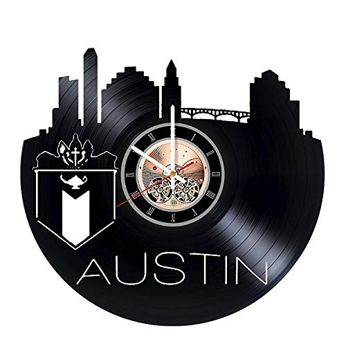 choma Austin Texas Wanduhr aus Vinyl, für Wohnzimmer, Wanddekoration - Geschenkidee für Freunde, Geschwister - Stadt einzigartiges Kunst Design