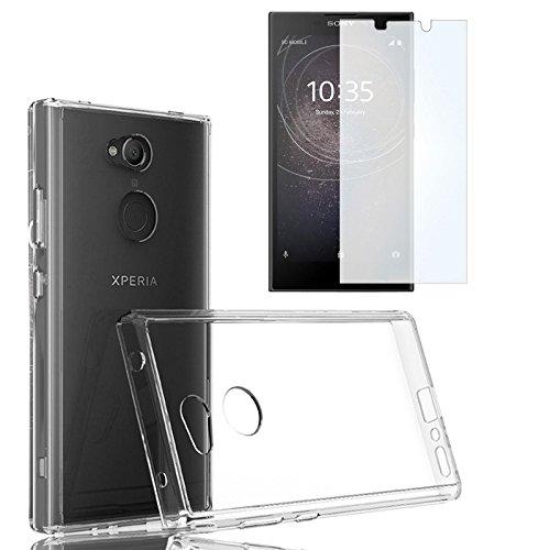Sony Xperia L2 Silikonhülle Handyhülle + Panzerfolie - Schutzhülle mit Schutzfolie - EximMobile Silikon Case Cover Panzerglas Folie Handytasche für Sony Xperia L2
