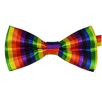 Seta finire Moda Cravatta a farfalla. Dicky pre-legato elastico per matrimoni (Arcobaleno)