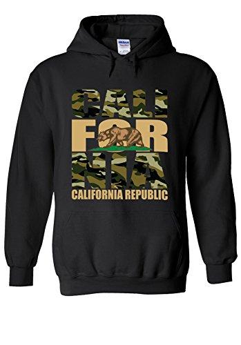 California Bear Army Camouflage Novelty Black Men Women Unisex Hooded Sweatshirt Hoodie-M (Baumwolle Black Sweatshirt Bear)