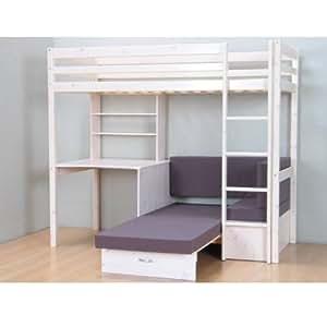 thuka hochbett 90x200 kiefer massiv bett kinderbett g stebett schreibtisch k che. Black Bedroom Furniture Sets. Home Design Ideas