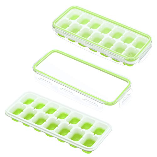 IKICH Ice Cube Trays with Locking Lids,【Unique】Easy-Release Silicone Ice Trays 2 PCS Stackble Ice Cube Moulds with Spill-Resistant Removable Lids, FDA LFGB Certified & BPA Free for Whiskey Baby Food -
