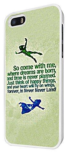 002-Cool Cartoon Neverland taux Come With Me Coque iPhone 44S Design Fashion Trend Case Back Cover Métal et Plastique-Blanc
