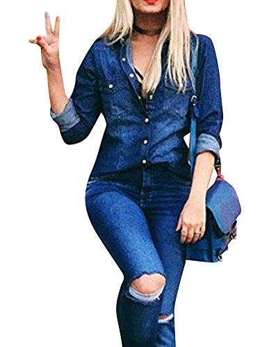 LaoZan Maniche lunghe Camicia di jeans Top di base Blusa da Donna Annata Slim Fit XXL Blu marino