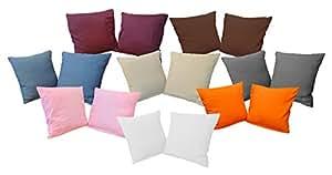 Fodera per cuscino, 40 x 40 cm, set di 2 federe in microfibra, Microfibra, Orange, 40 x 40 cm