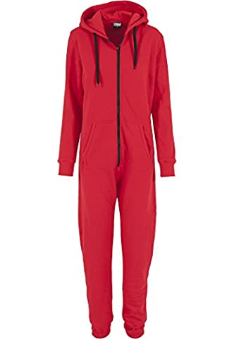 Urban Classics Damen Overall Jumpsuit Sweat Medium Red/Blk