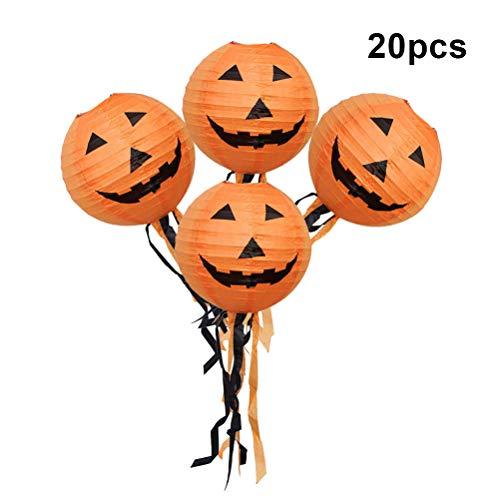 oween Kürbis Laternen Papier hängende elektronische bunte Nachtlicht mit 25cm Quaste für Halloween Scary Theme Party Haunted House Decor ()