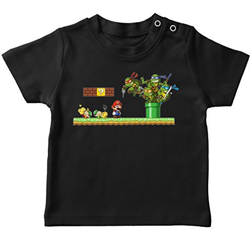 T-shirt bébé Noir Tortues Ninja - Mario Bros parodique Leonardo, Raphael, Donatello, Michelangelo et Mario : La revanche des Tortues (Super Deformed Edition) (Parodie Tortues Ninja - Mario Bros)