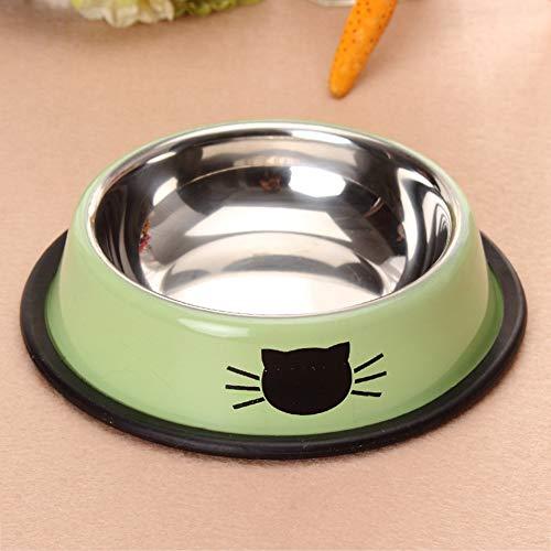 Templom SIX Edelstahl Hund und Katze Wasserbassin Dicke Rutschfeste Haustierreisschüssel(Grün)