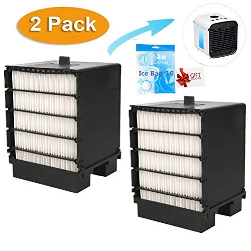 Air Ersatzfilter, Filter Ersatz, Cooler Filter, Mini Luftkühler Ventilator Air Mini Cooler Mobil Klimageräte Ersatzteile (X- 2Pcs + Eisbeutel) - Ventilator Ersatz