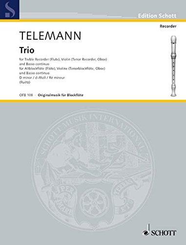 Trio d-Moll: Alt-Blockflöte (Flöte), Violine (Tenor-Blockflöte, Oboe) und Basso continuo (Cembalo, Klavier); Violoncello (Viola da gamba) ad libitum. (Edition Schott)