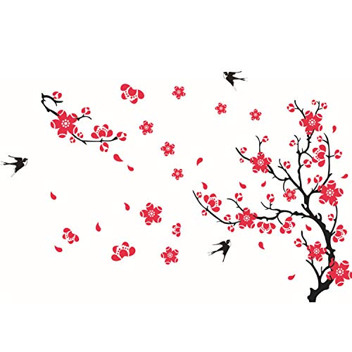 dasdjjhbh Plum Blossom Swallow Wandaufkleber Für Wohnzimmer Sofa/Tv Hintergrund Dekoration Decals Mural Art Flower Aufkleber An Der Wand -