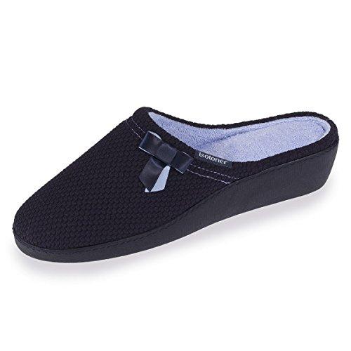 Raso Pantofole Isotoner Donna Muli Nuda Blu Tallone q4FcqvwWzt