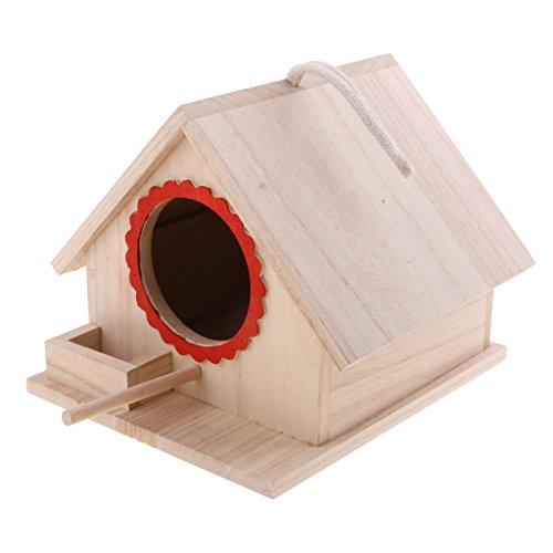 LOVIVER Casa de Pájaros Pajarera Nido Casa de Aves de Madera Natural con Cuerda Decorativa para Jardin...